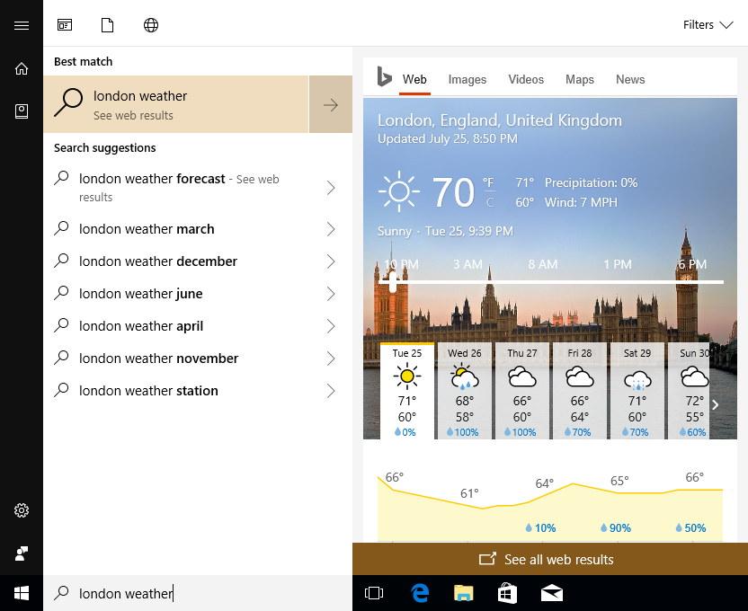 Cortana web result pane