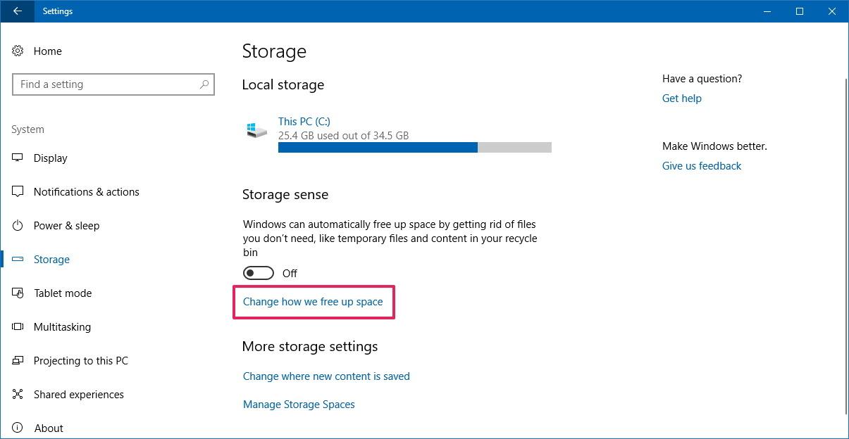 Storage sense settings