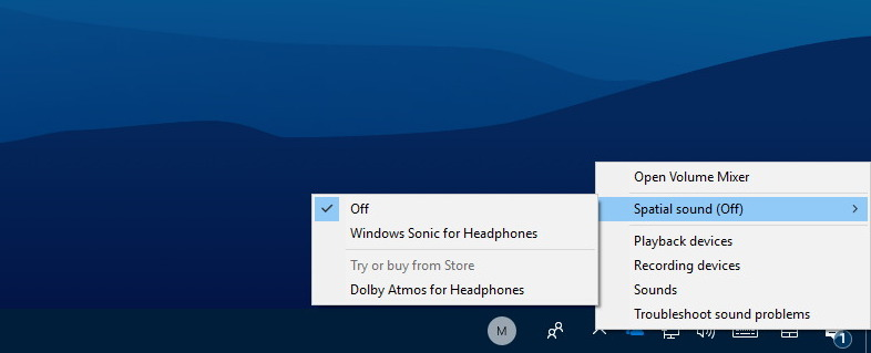 Windows Sonic Spatial sound settings