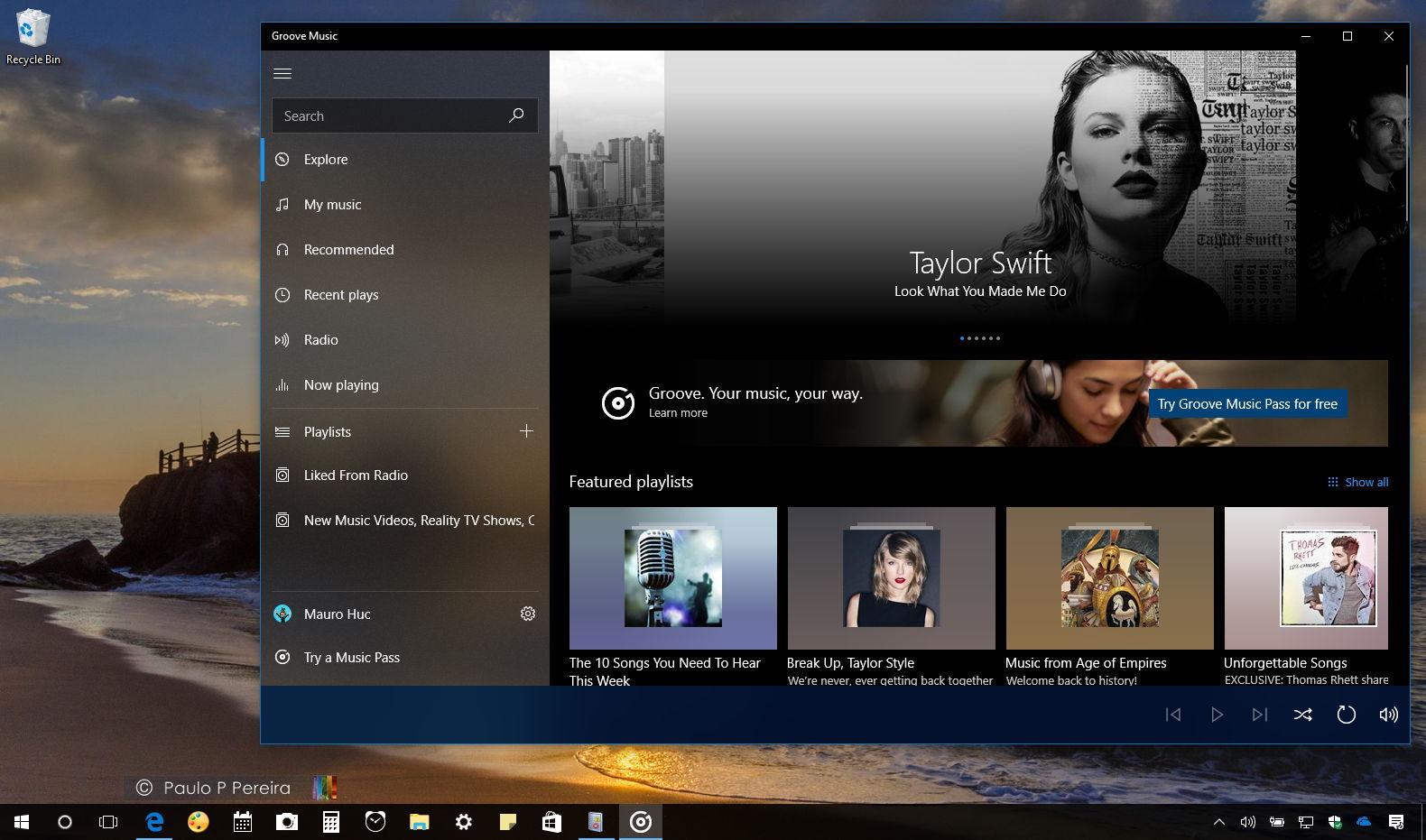 Groove Music app on Windows 10