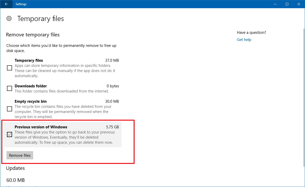 Delete previous version of Windows using Temporary files