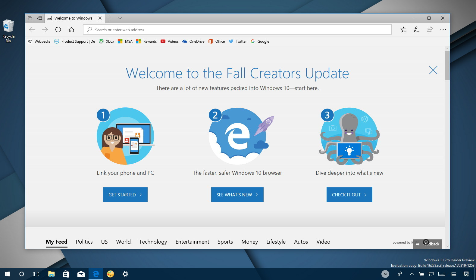 Windows 10 build 16273 Fall Creators Update Edge splash