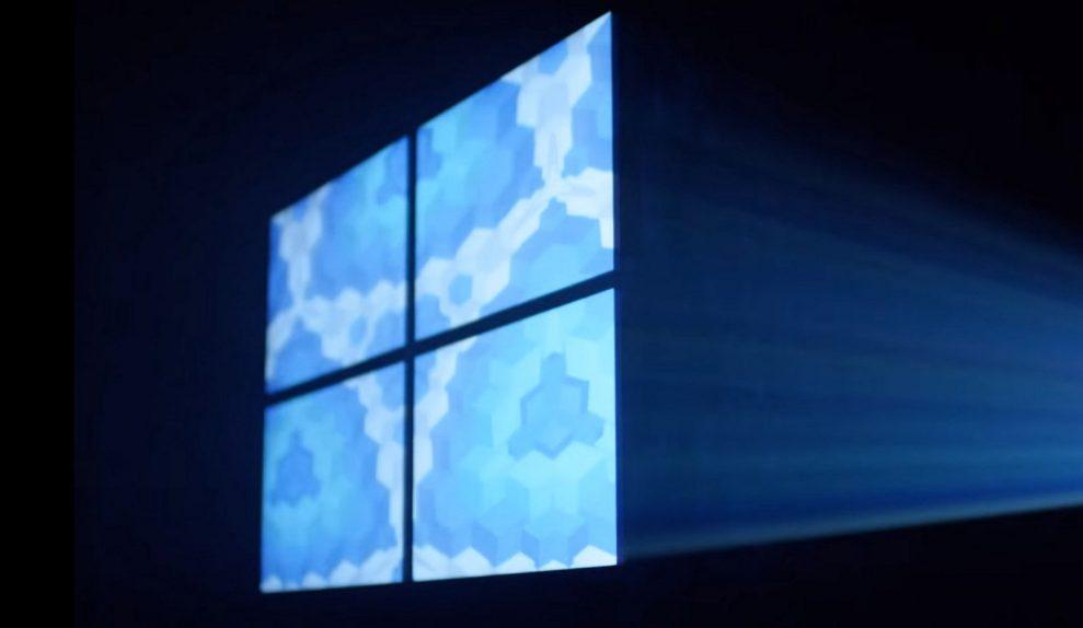 Windows 10 logo blue and dark background