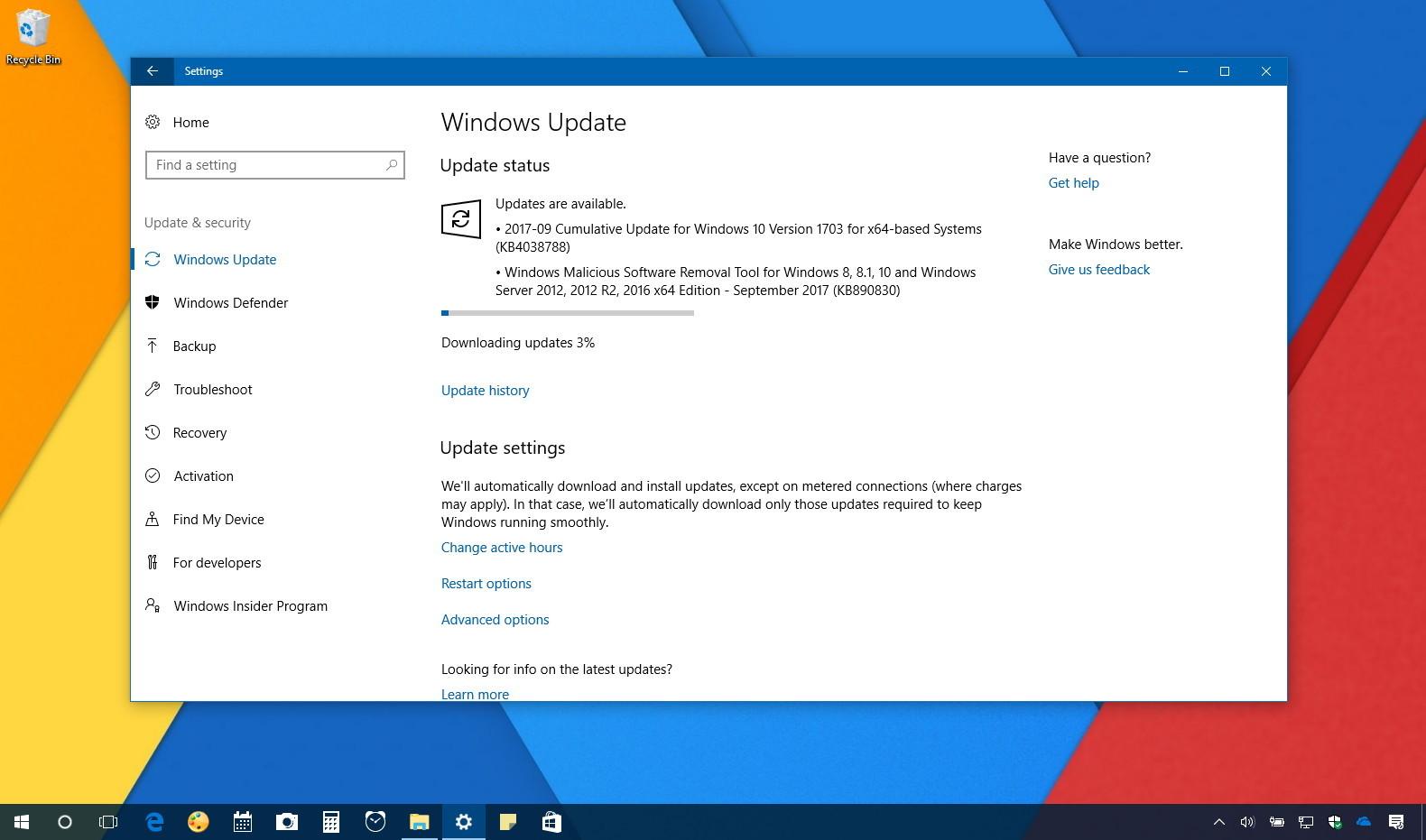 Windows 10 Update KB4038788