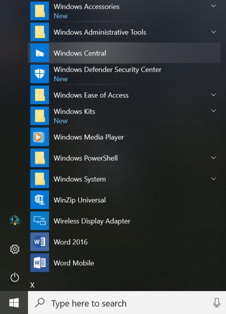 Start menu with Reveal highlight