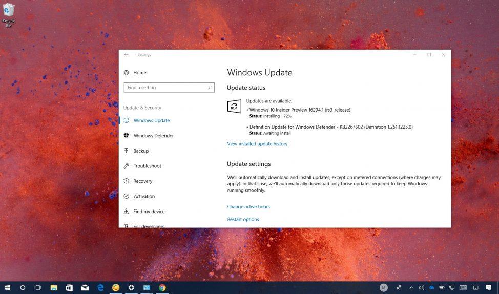 Windows 10 build 16291