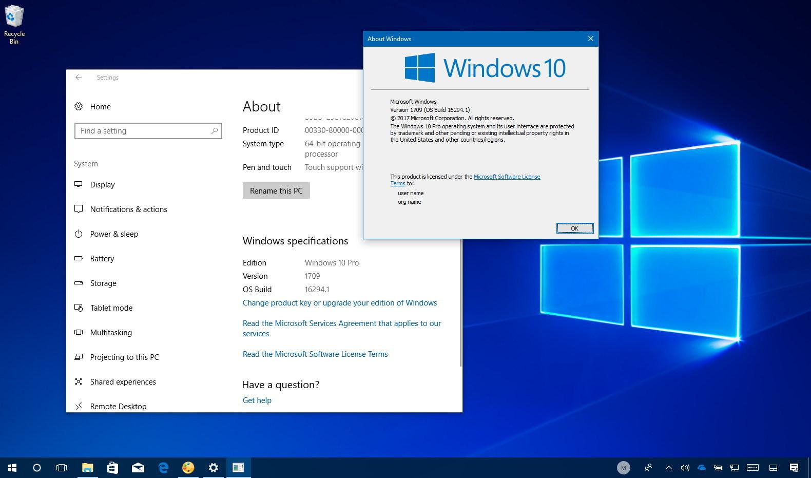 Windows 10 Fall Creators Update installation check