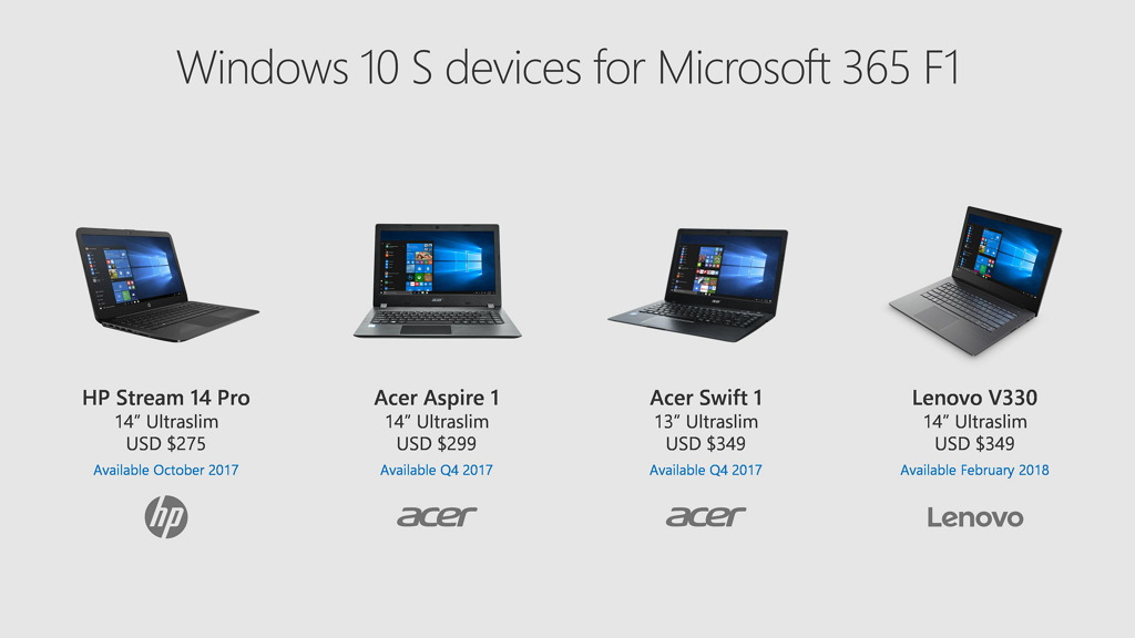 Windows 10 S devices available through Microsoft 365 F1