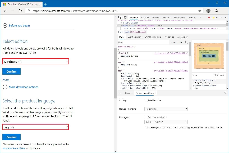 Download Windows 10 ISO using Edge Chromium directly