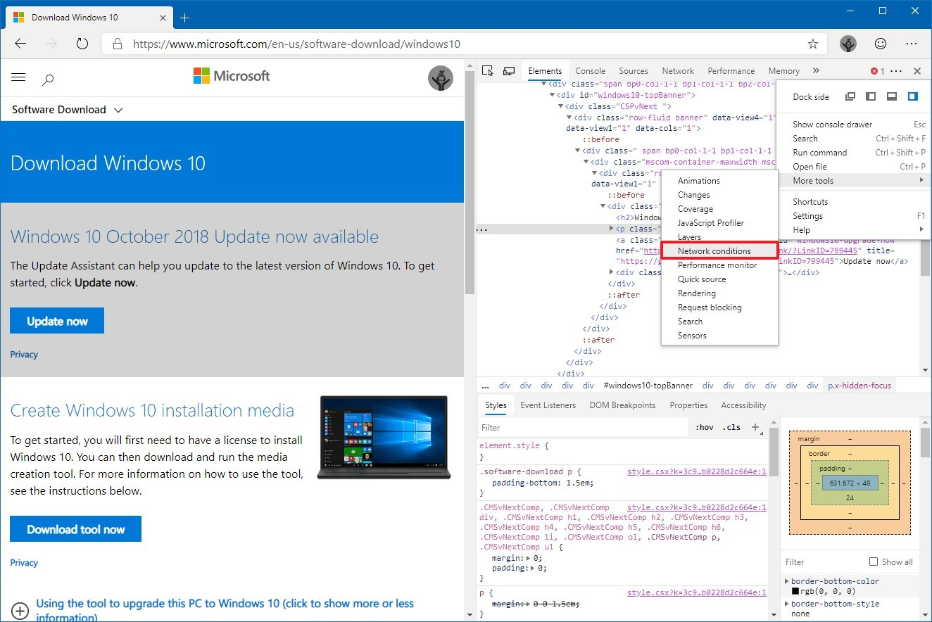 Accessing Network Conditions settings on Microsoft Edge Chromium