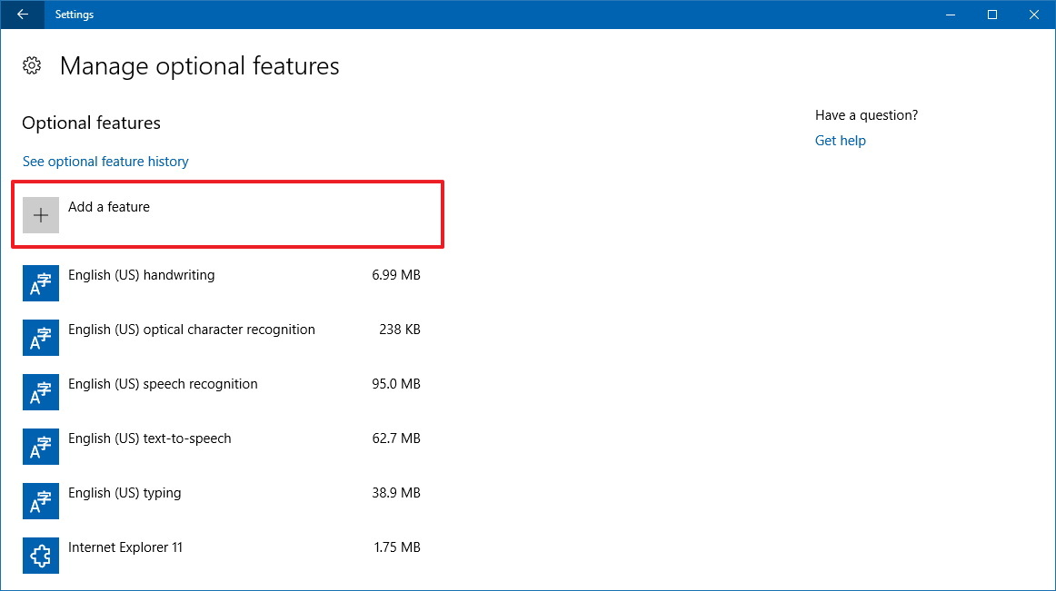 Manage optional features settings