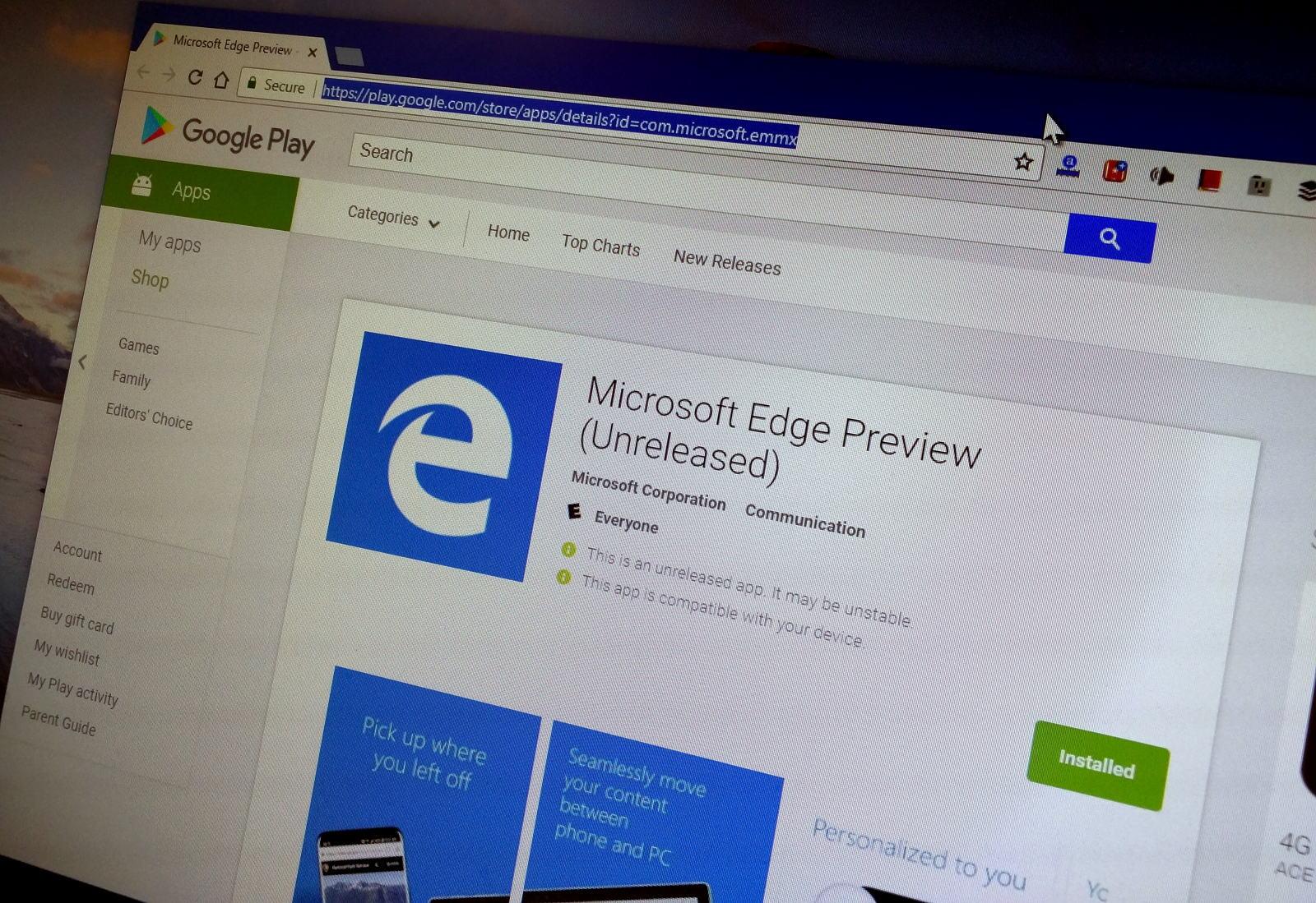 Microsoft Edge app on the Google Play Store