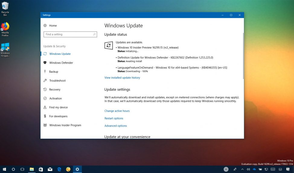 Windows 10 build 16299.15