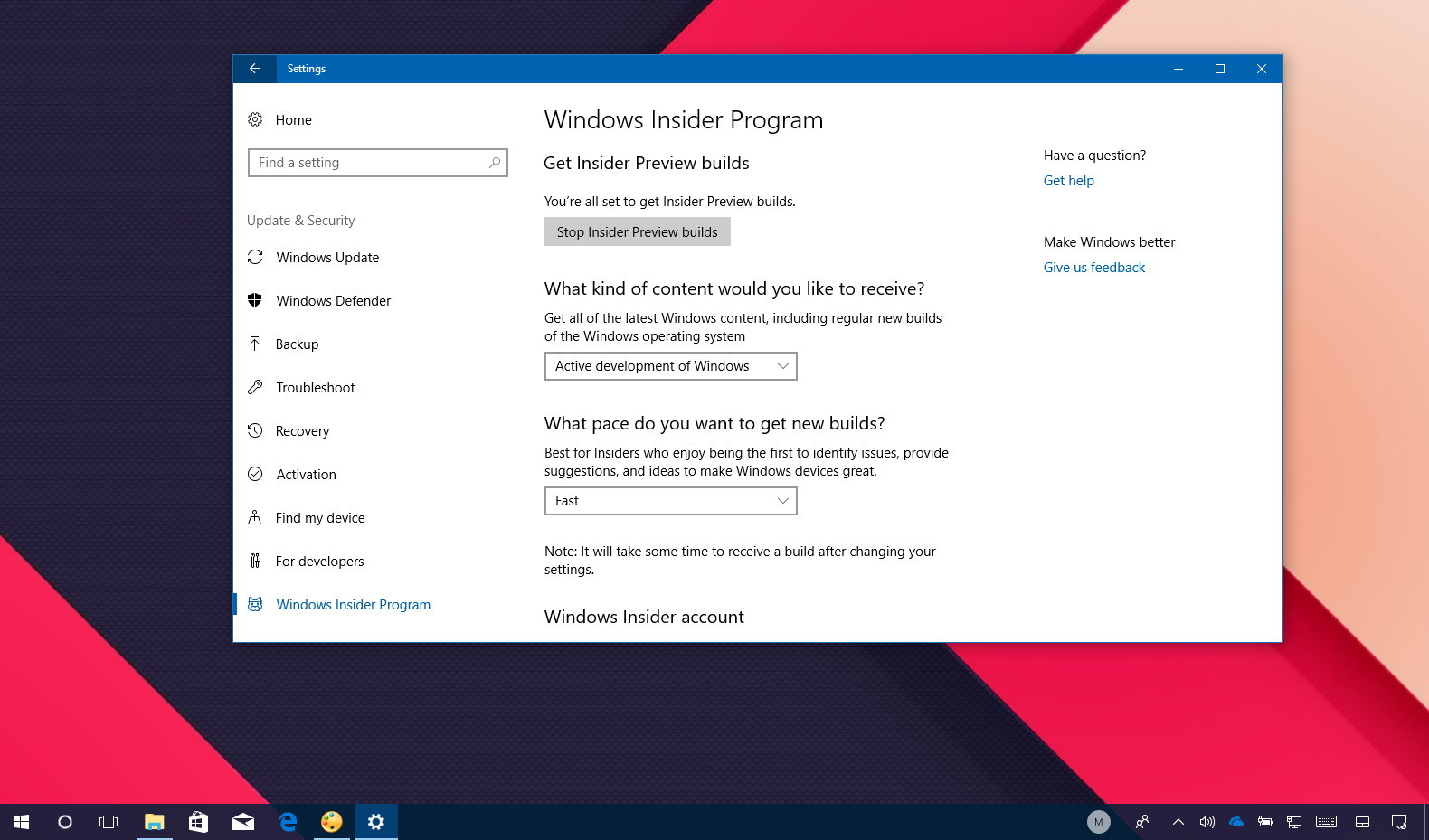 Windows 10 Redstone 4 in the Fast ring