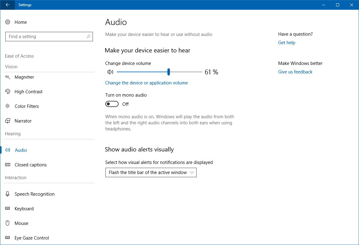 Audio settings on Ease of Access