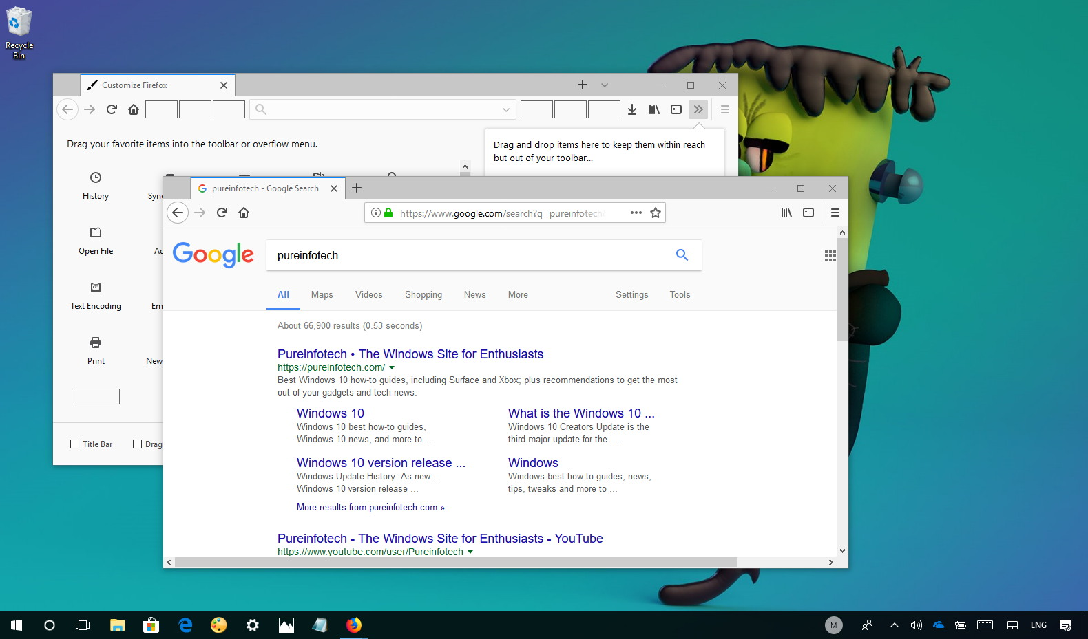 How to manage toolbar 39 s flexible space on firefox for What is flex space