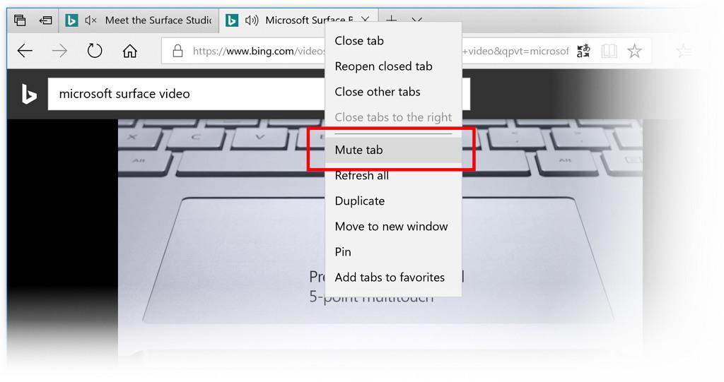 Edge mute tab option