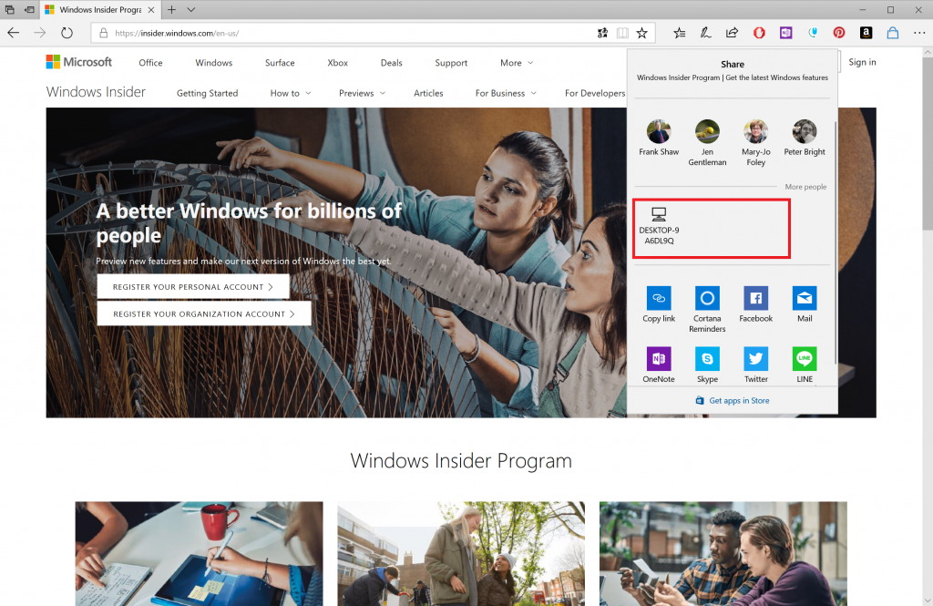 Near Share option on Microsoft Edge
