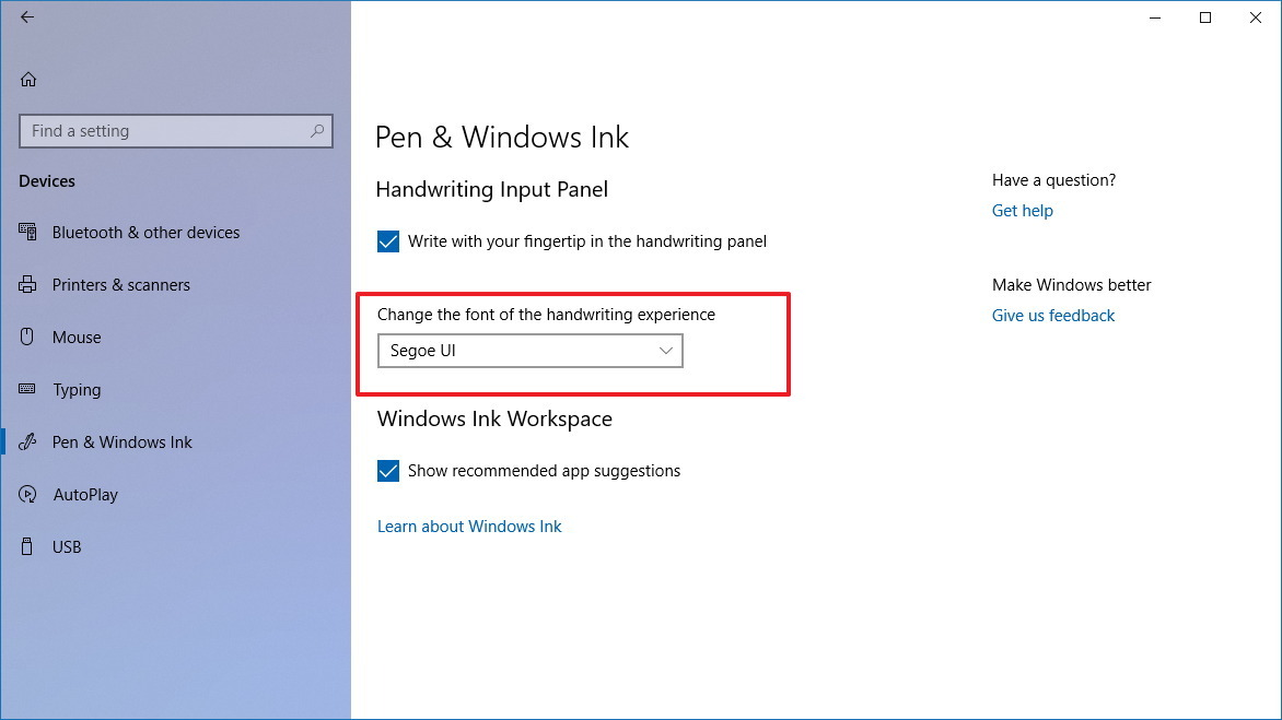 Pen & Windows Ink settings page