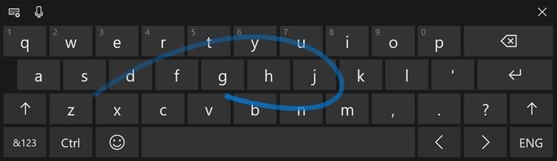 Shape-writing on full-sized keyboard