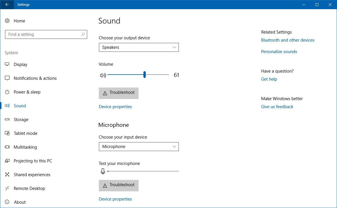 Sound settings Windows 10 version 1803