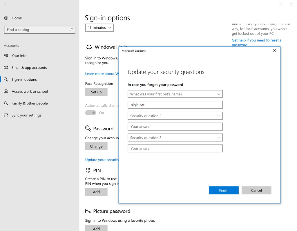 Local account security questions feature