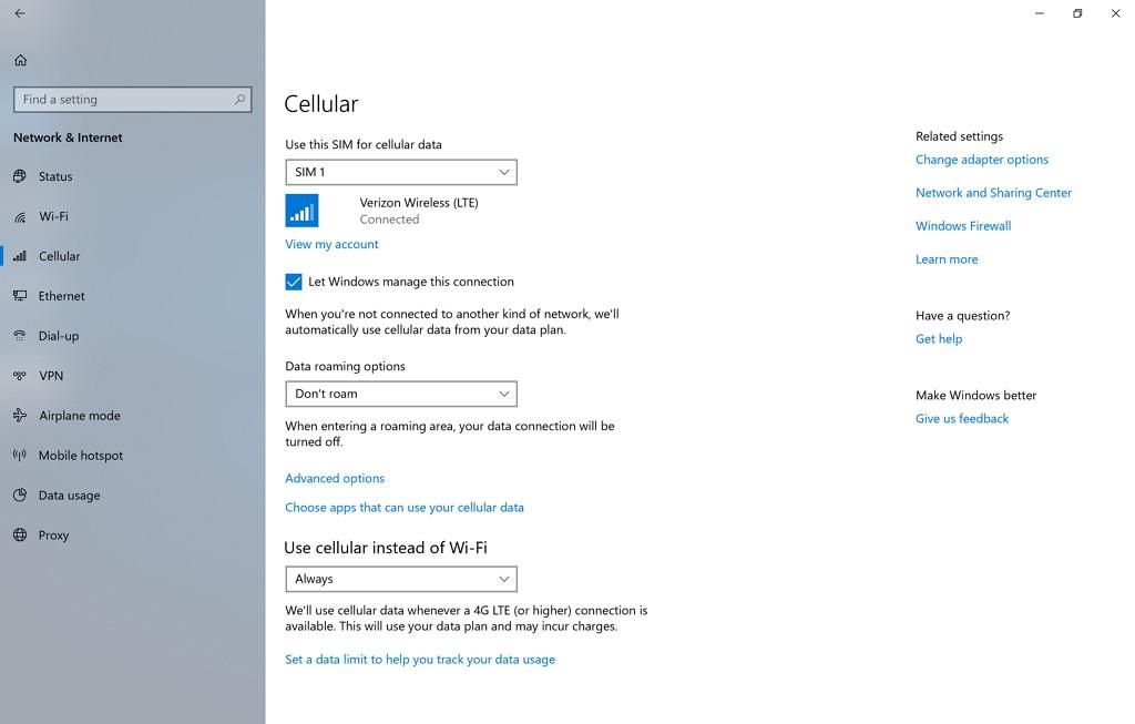 Cellular settings in Windows 10 build 17063