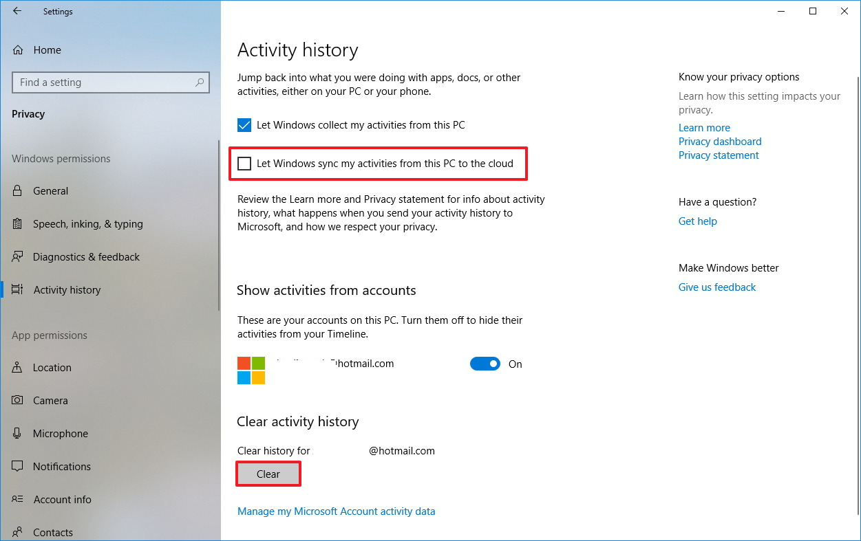 Clear Timeline activity history settings