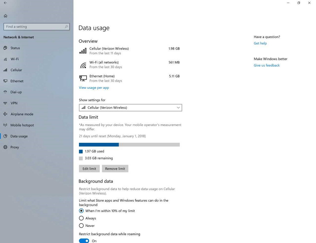 Data Usage settings in Windows 10 build 17063