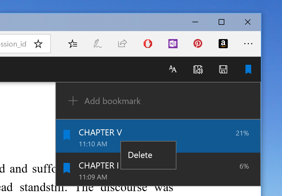 Microsoft Edge new EPUB and PDF options