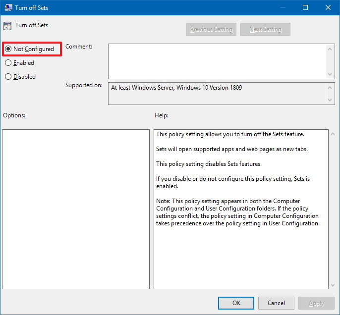 Policy to enable Sets on Windows 10