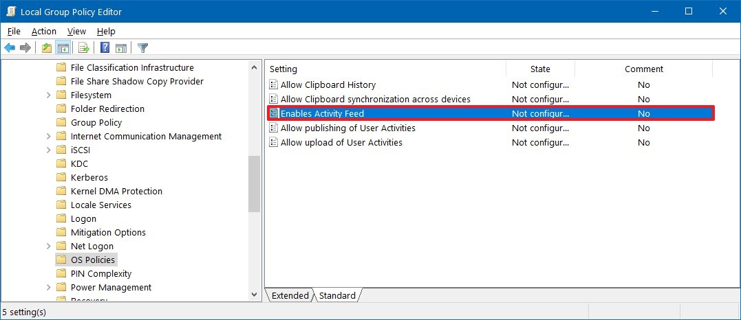 Group Policy OS Policies