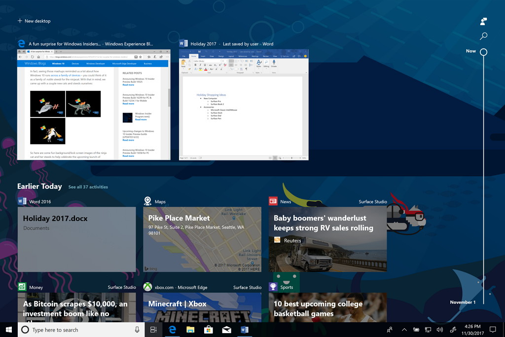 Timeline in WIndows 10 build 17063