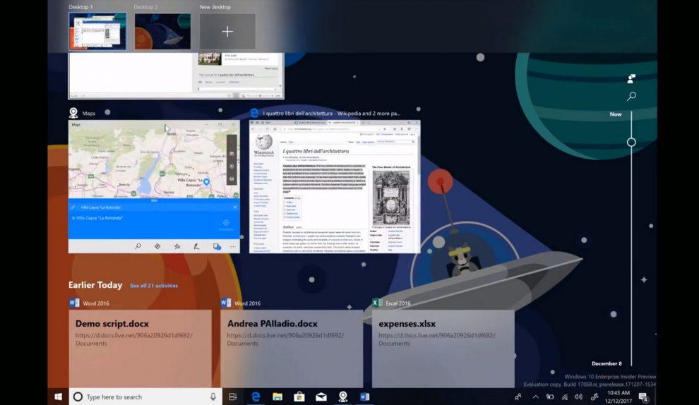 Timeline on Windows 10 demo