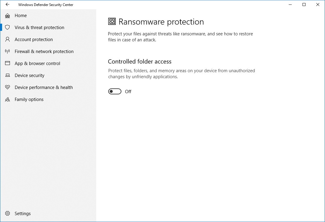 Ransomware protection settings