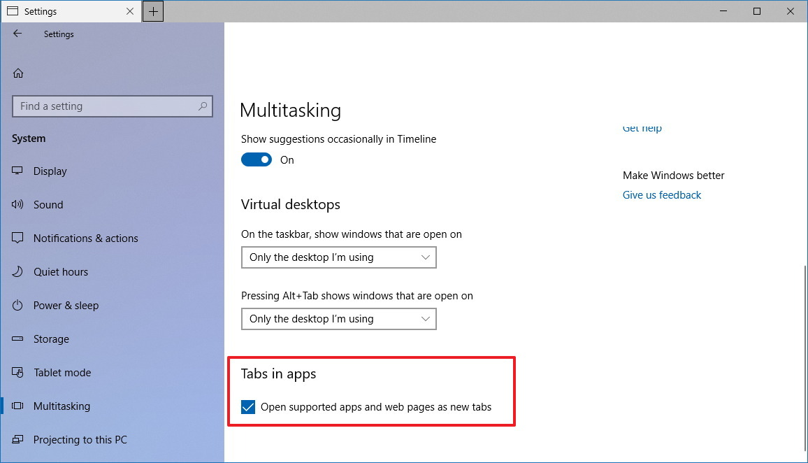 Disable Tabs in apps (Sets) on Windows 10
