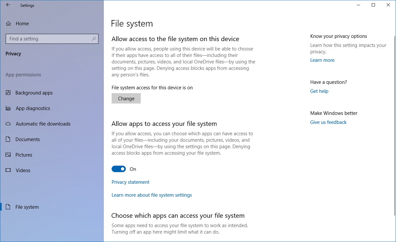 File History settings