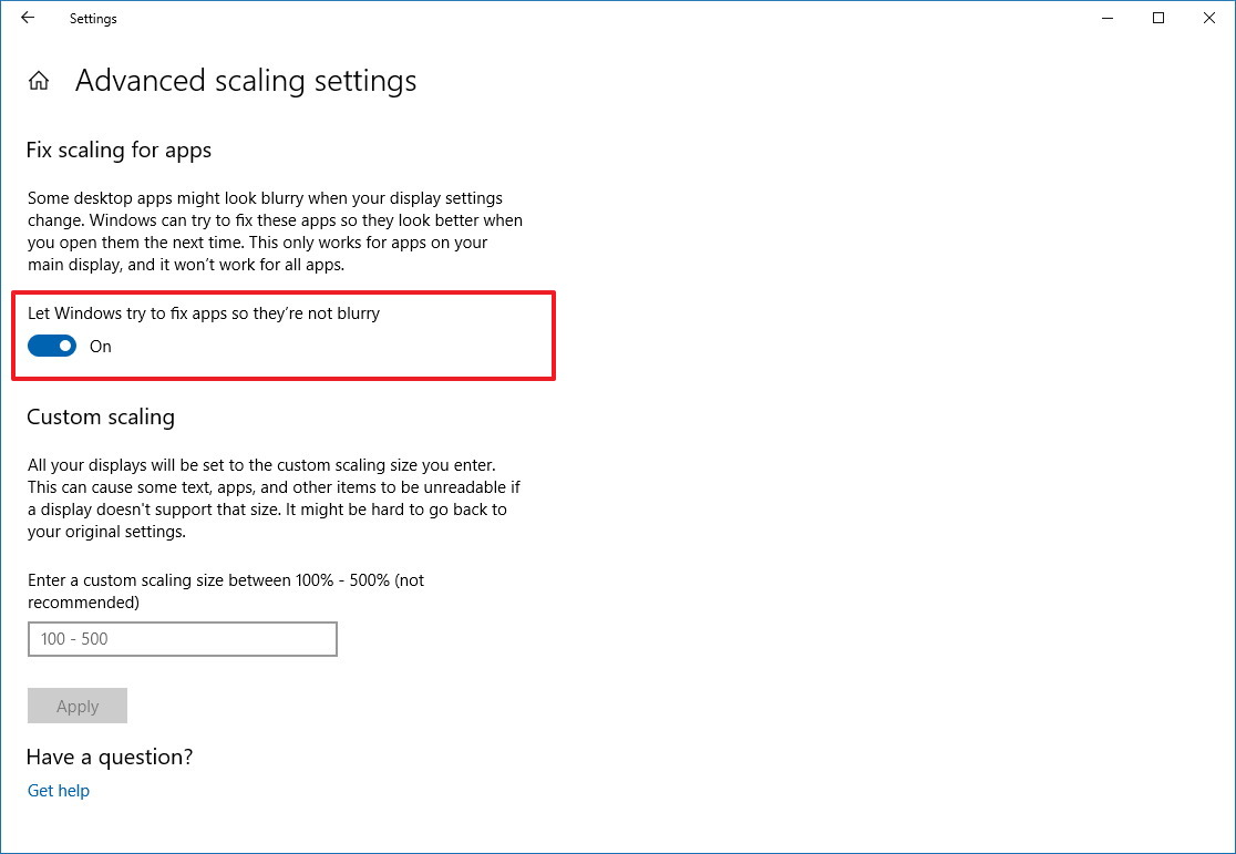 Fix scaling for apps settings