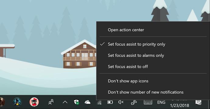 Focus assist menu