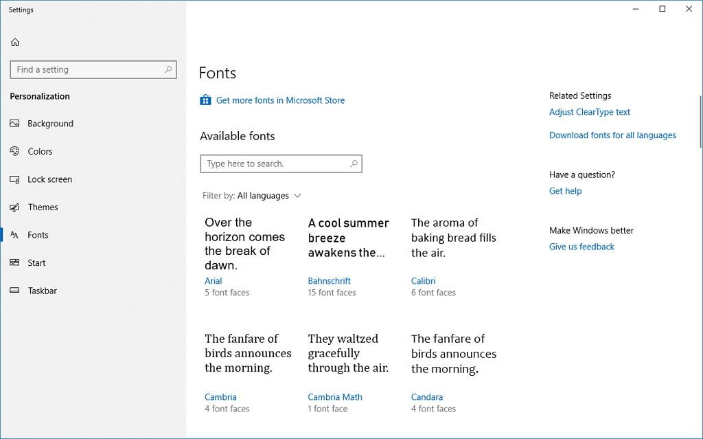 Fonts settings on Windows 10 build 17083