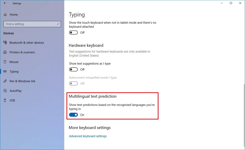 Multilingual text prediction settings