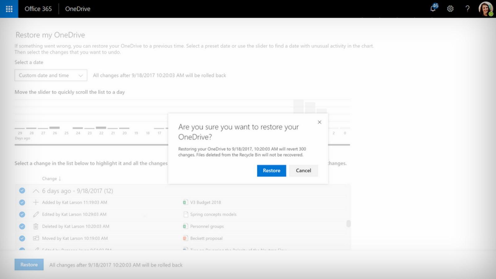 OneDrive Files Restore