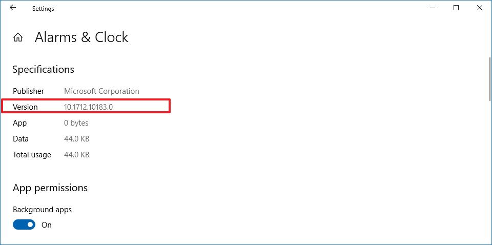 App version number information on Windows 10