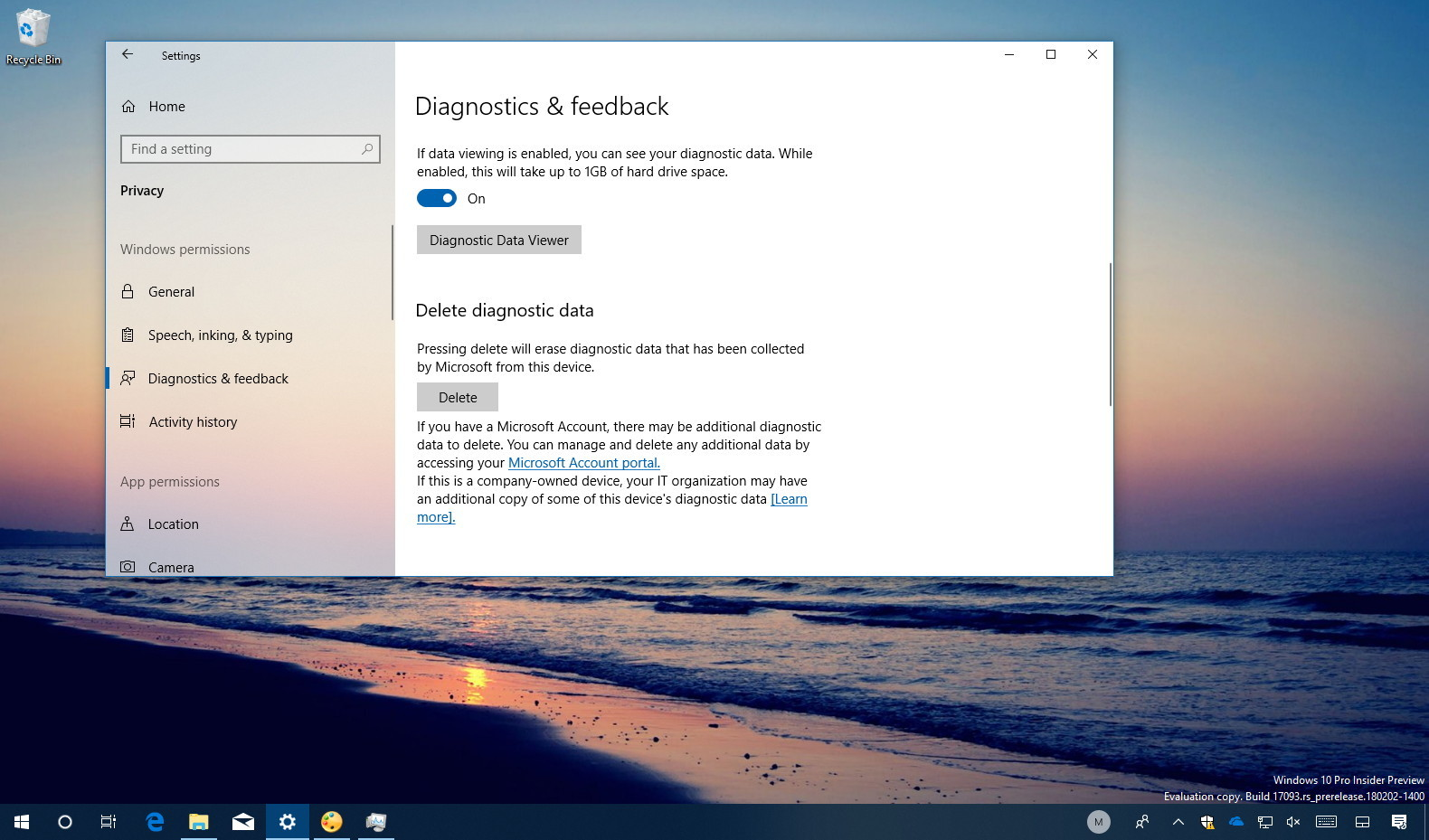 Deleting diagnostic data on Windows 10
