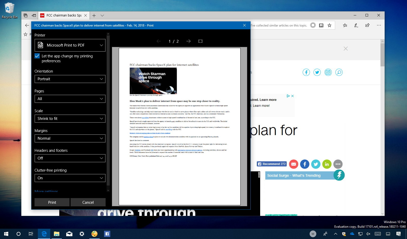 How to print web pages clutter-free on Microsoft Edge