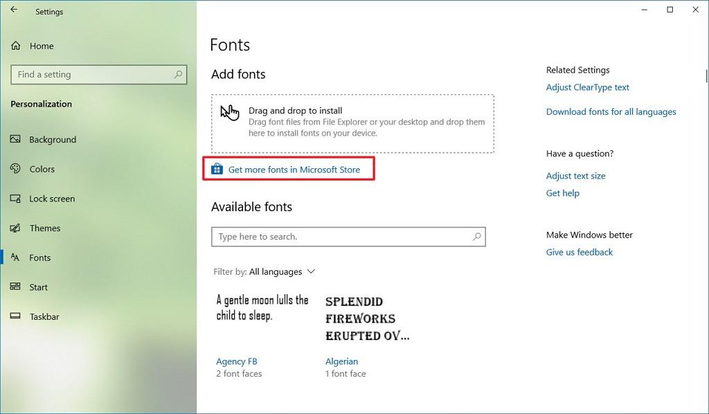 Fonts settings on Windows 10