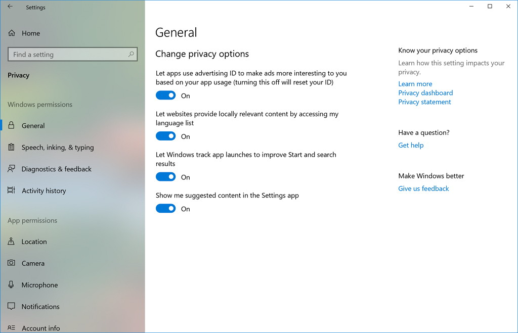 Privacy settings on Windows 10
