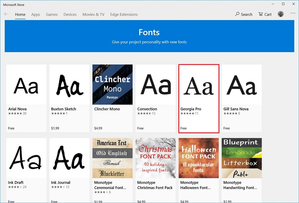 Microsoft Store fonts section