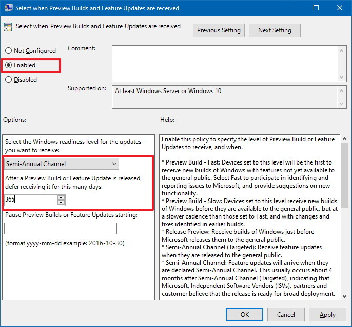 Select when Preview Builds and Feature Updates are received policy