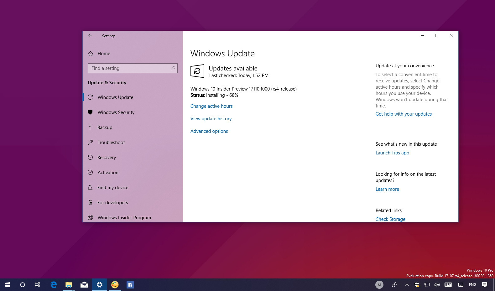 Windows 10 build 17110